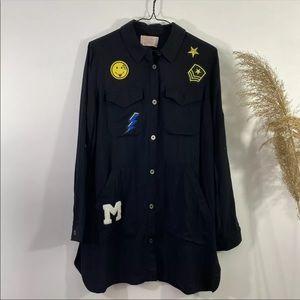 Love Tree Women Black Shirt Dress Cute Patches SzS